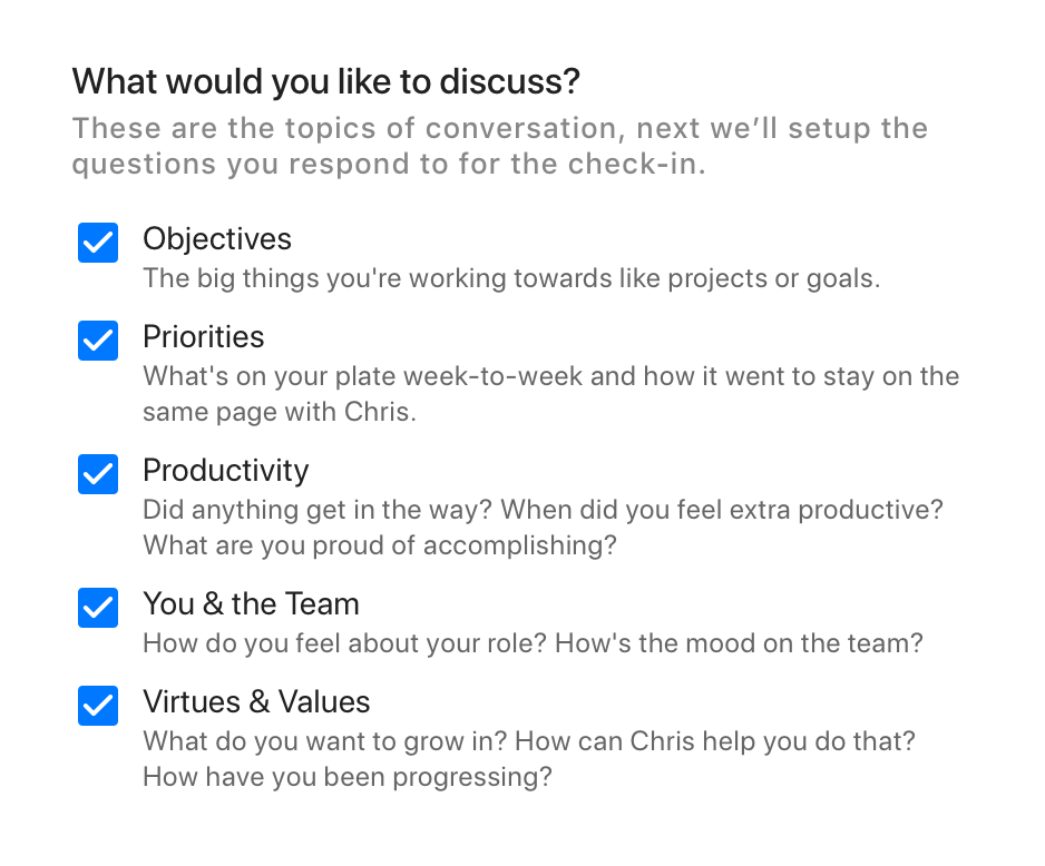 Choosing the right 1-on-1 meeting topics